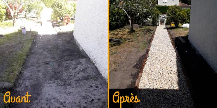 Photos Avant/Après travaux pour la création d'une allée dans un jardin