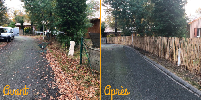 Photos avant/après travaux pour la pose d'une clôture en bois
