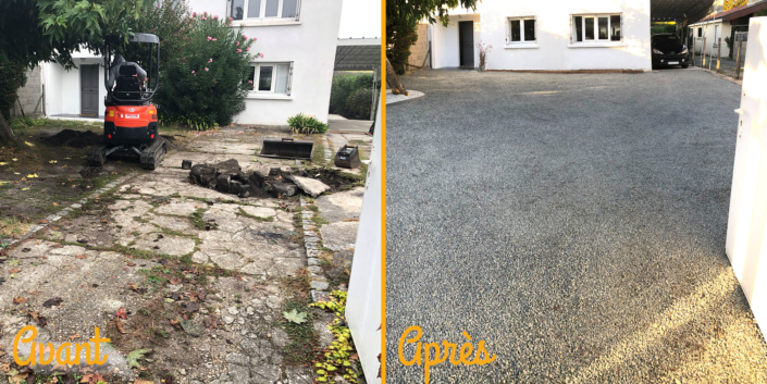 Photos Avant/Après travaux pour la création d'une allée dans l'entrée d'un terrain